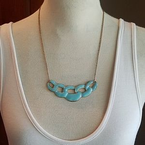 Jewelry - Blue enamel and gold-tone fashion necklace